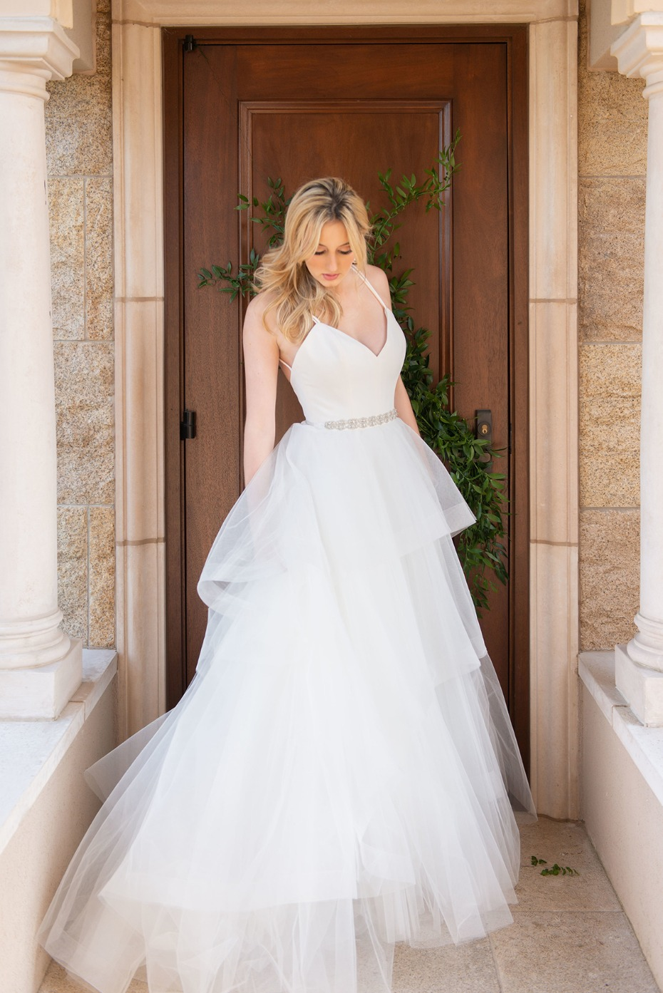 wedding gown with frothy tulle skirt