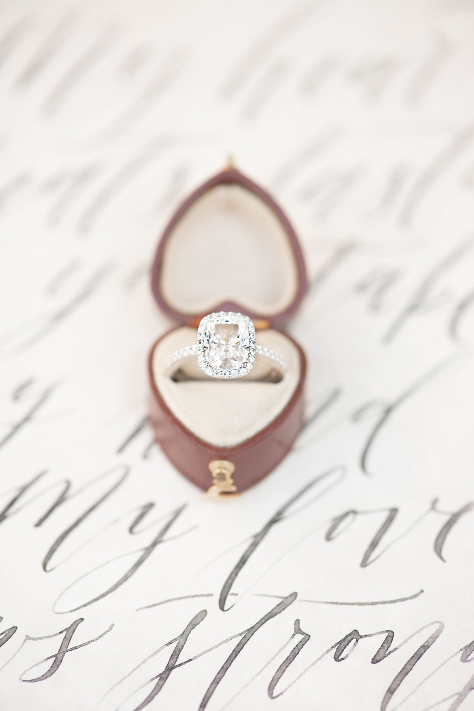 wedding ring and heart shaped ring box