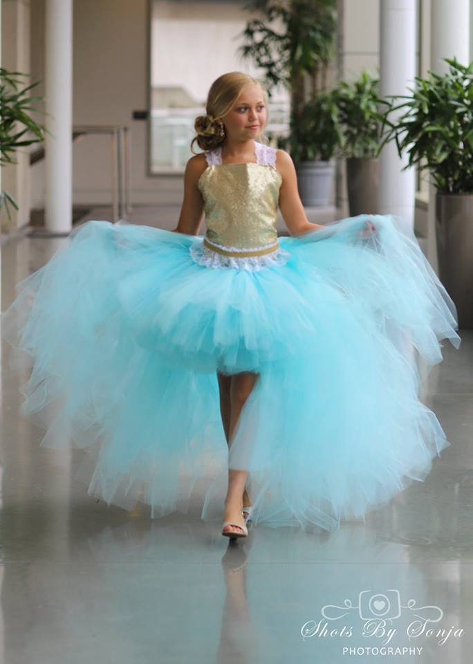 A gorgeous 3 piece hi lo dress for your flower girl in aqua and gold... Custom made to order. Skirt color to your request.