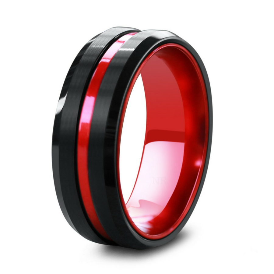 Men's Wedding Ring! Modern black & Red. Crafted out of tungsten carbide.