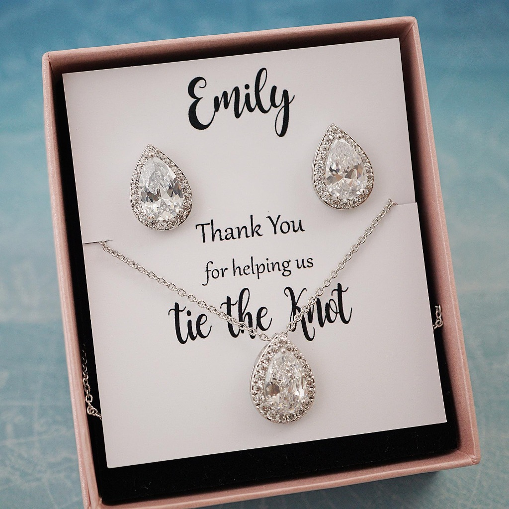 Elegant cubic zirconia Jewelry set with Personalized Bridesmaid card. Great for Bridesmaid gifts