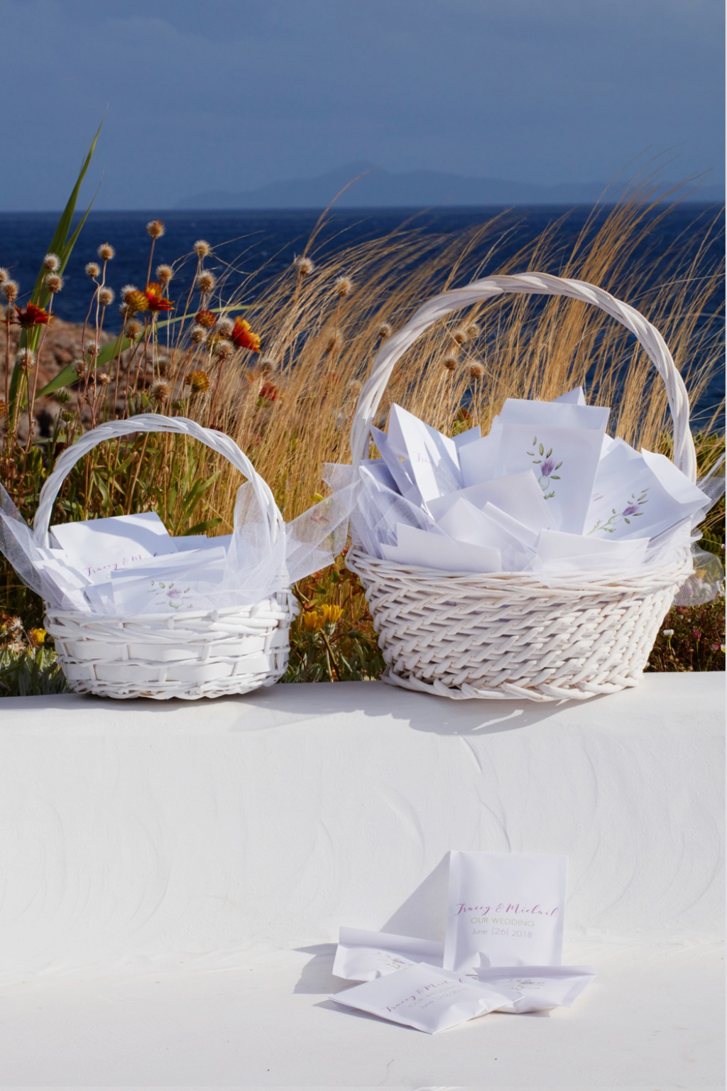 Rice & confetti sachets for a Greek island wedding