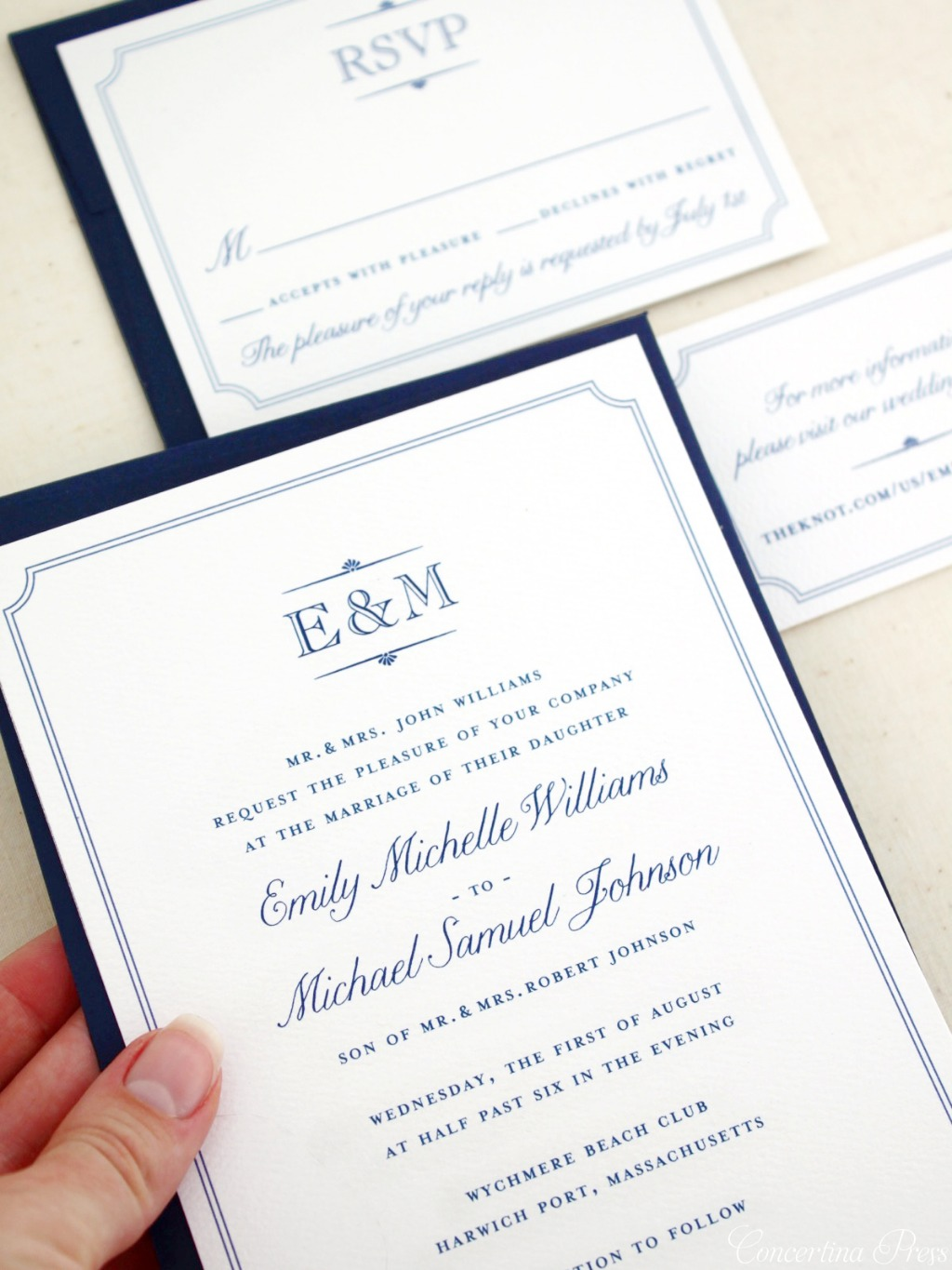 Nothing says classic elegance like a custom monogram! While I designed these elegant monogram invitations, with their delicate, scalloped