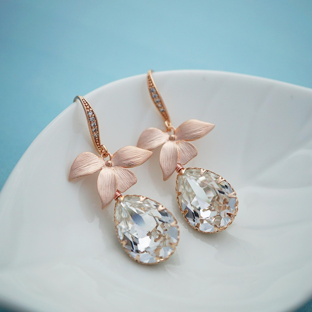 a76b3e60b See more here · Vendor | Inspiration - 47667. Handmade floral Swarovski  Crystal Earrings in Rose gold Garden Wedding Bridal Earrings Bridal Jewelry