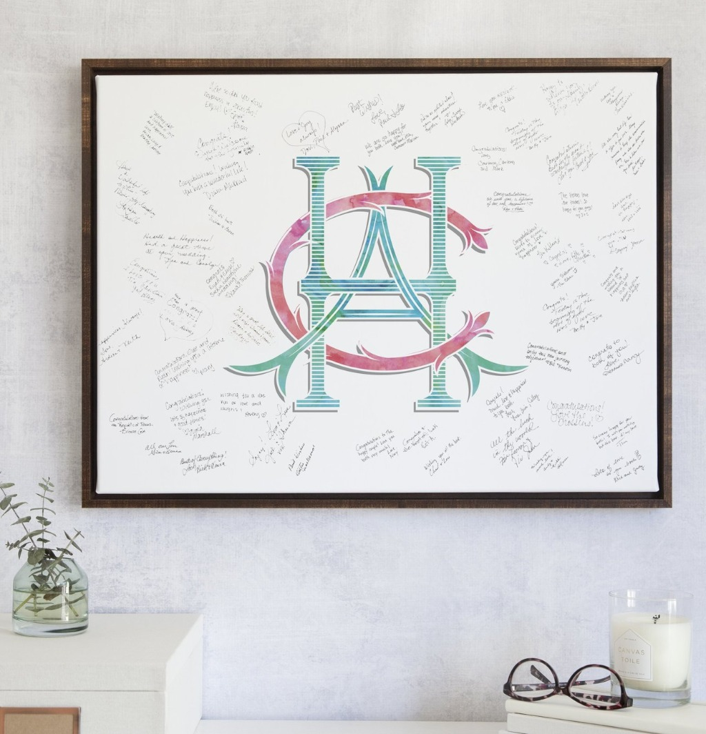Let's talk about our NEW Wedding Monogram Watercolor Guest Book Alternative!! We'll create your custom monogram with the letters of