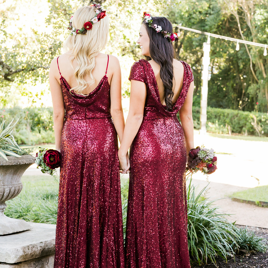 Bridesmaids in red,