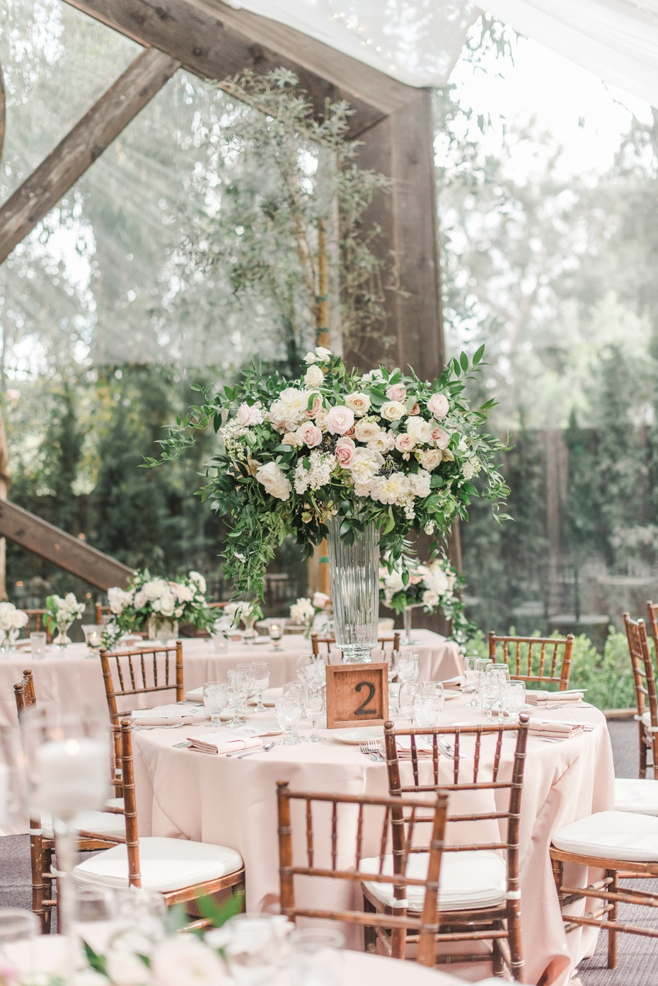 blush and ivory wedding reception table decor