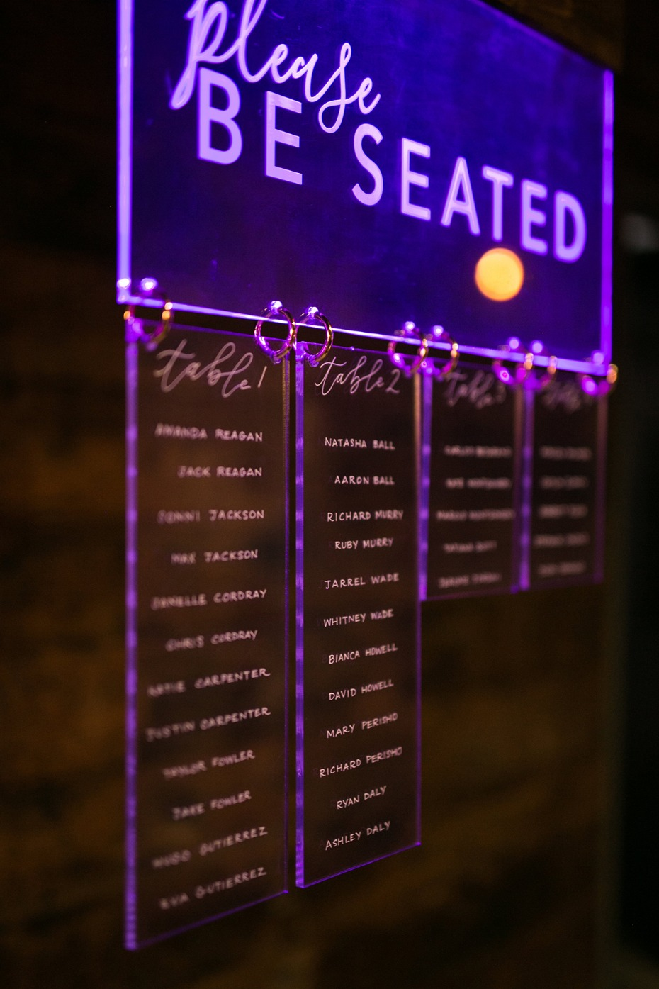 glow in the dark etched seating assignment display