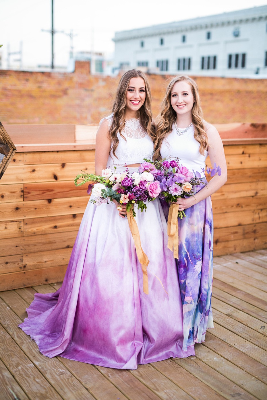 dip dyed wedding dress and bridesmaid dress