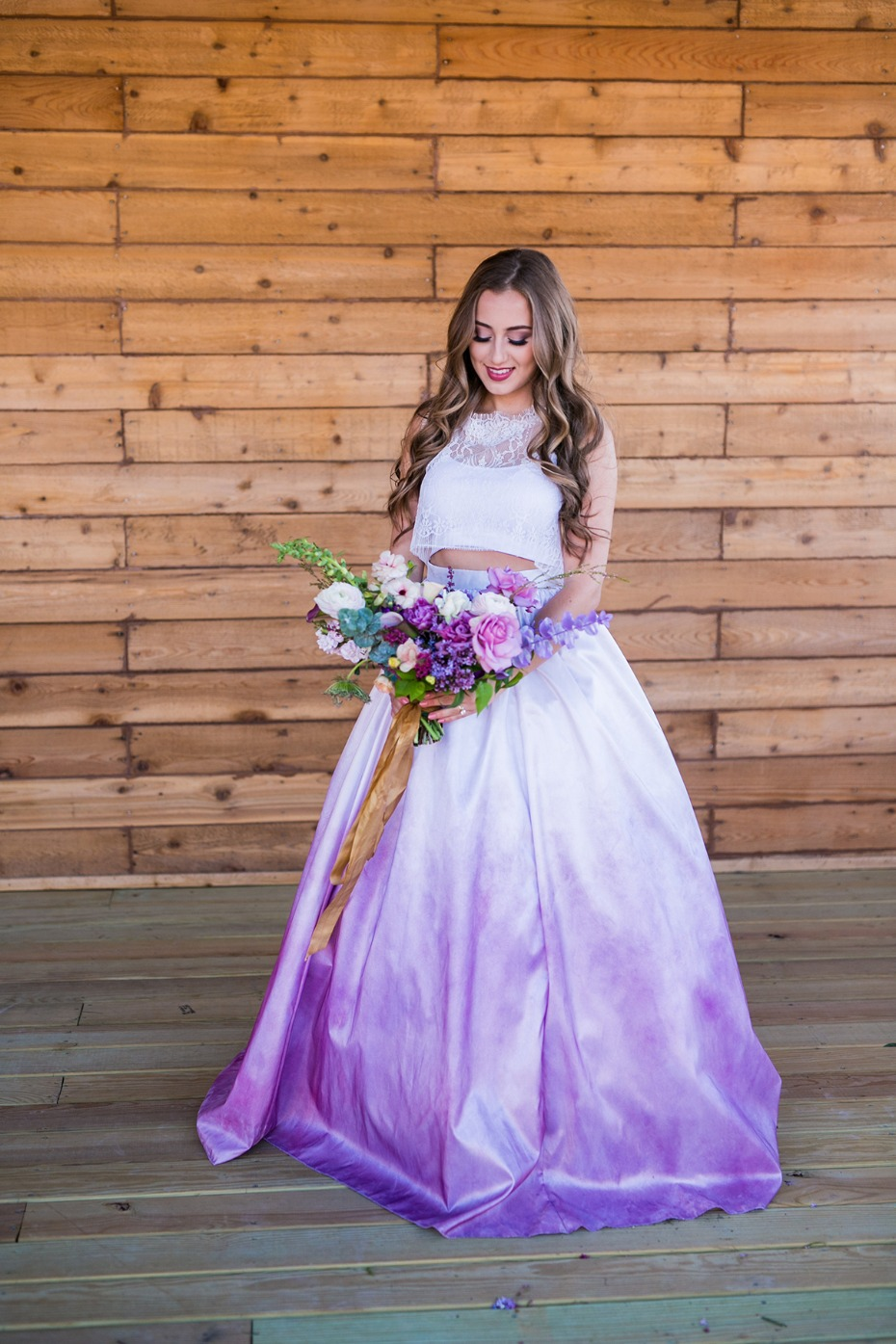watercolor pink and purple wedding dress