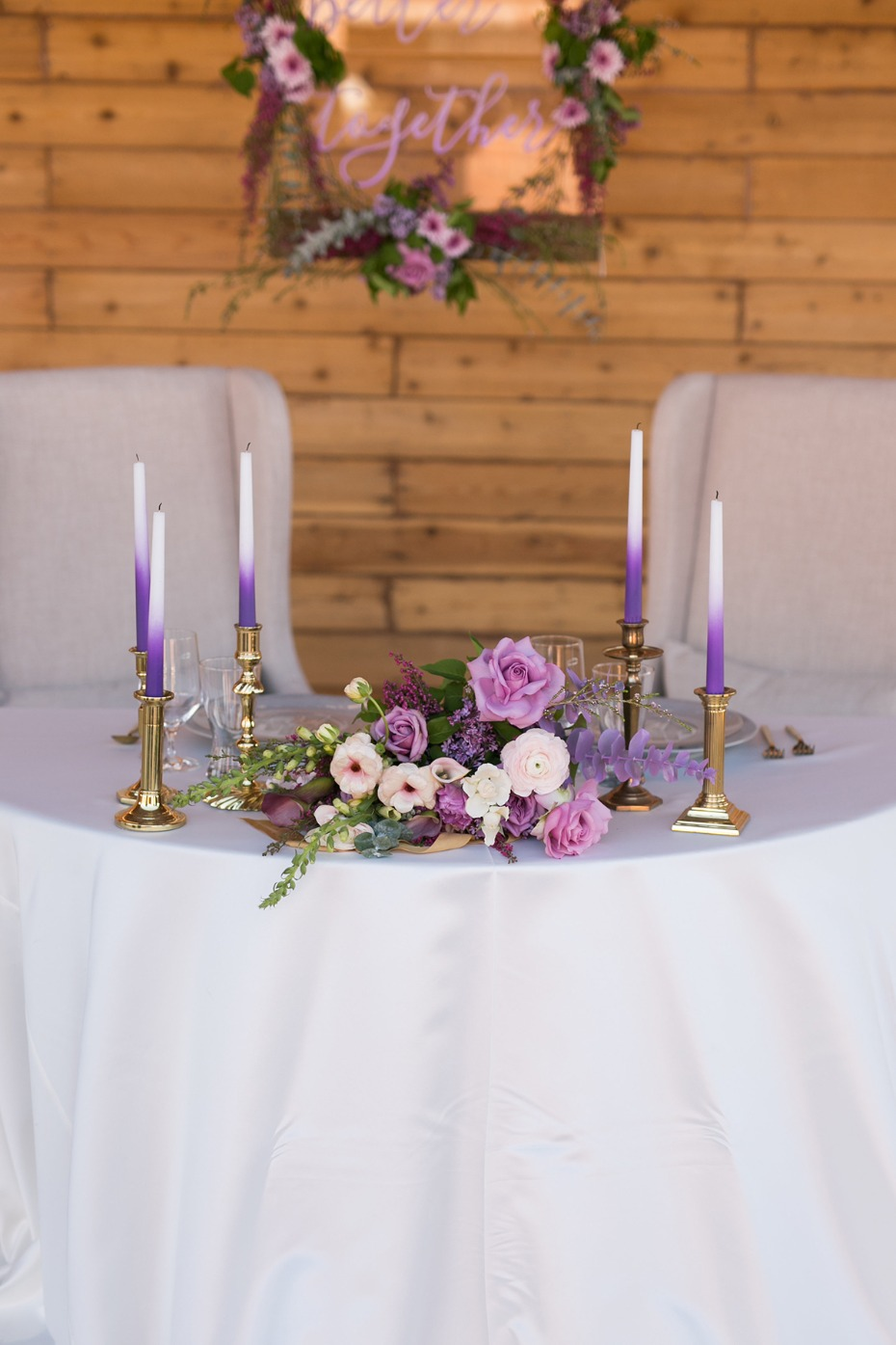 sweetheart table with purple dip dyed elements