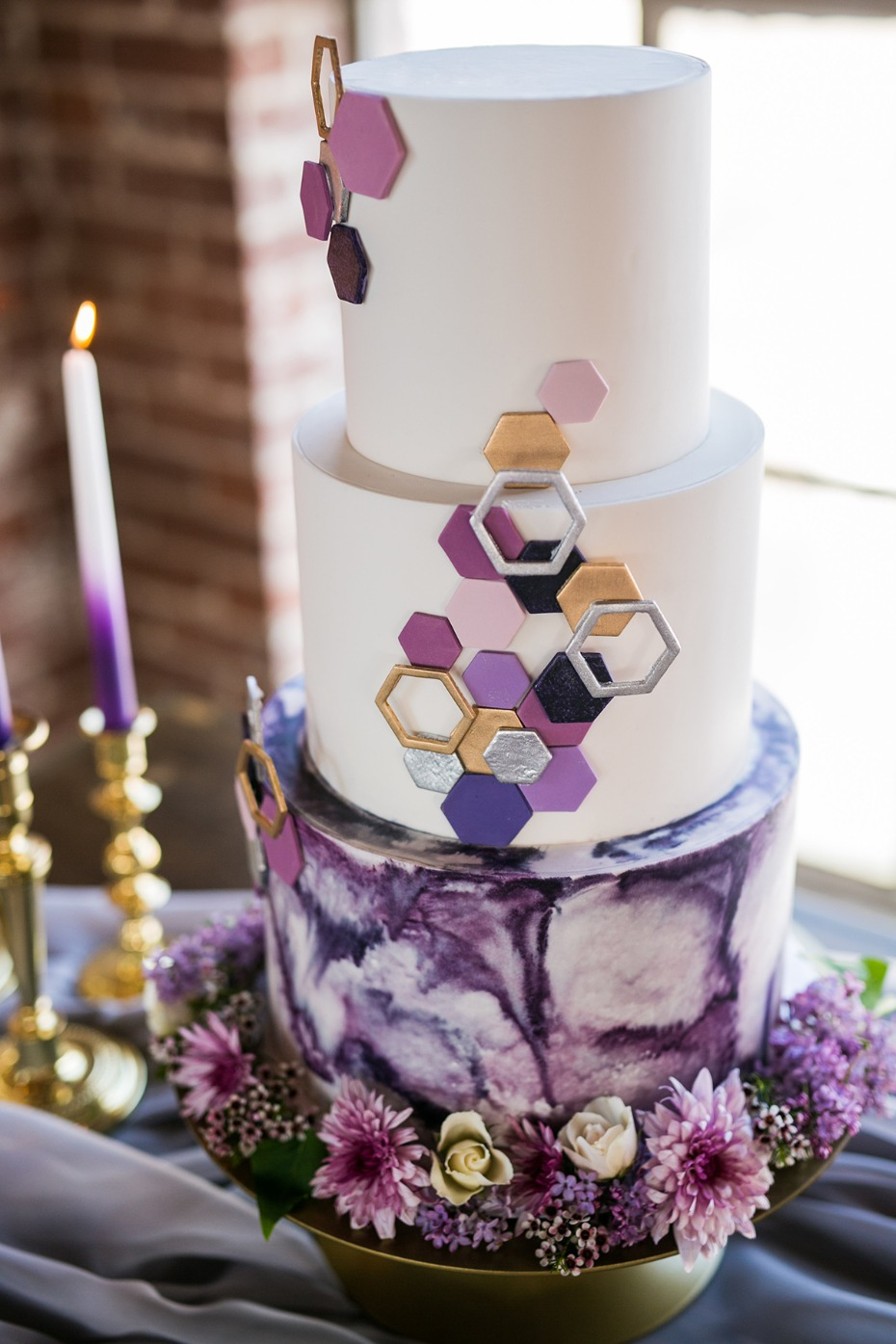 purple and gold geometric and watercolor cake