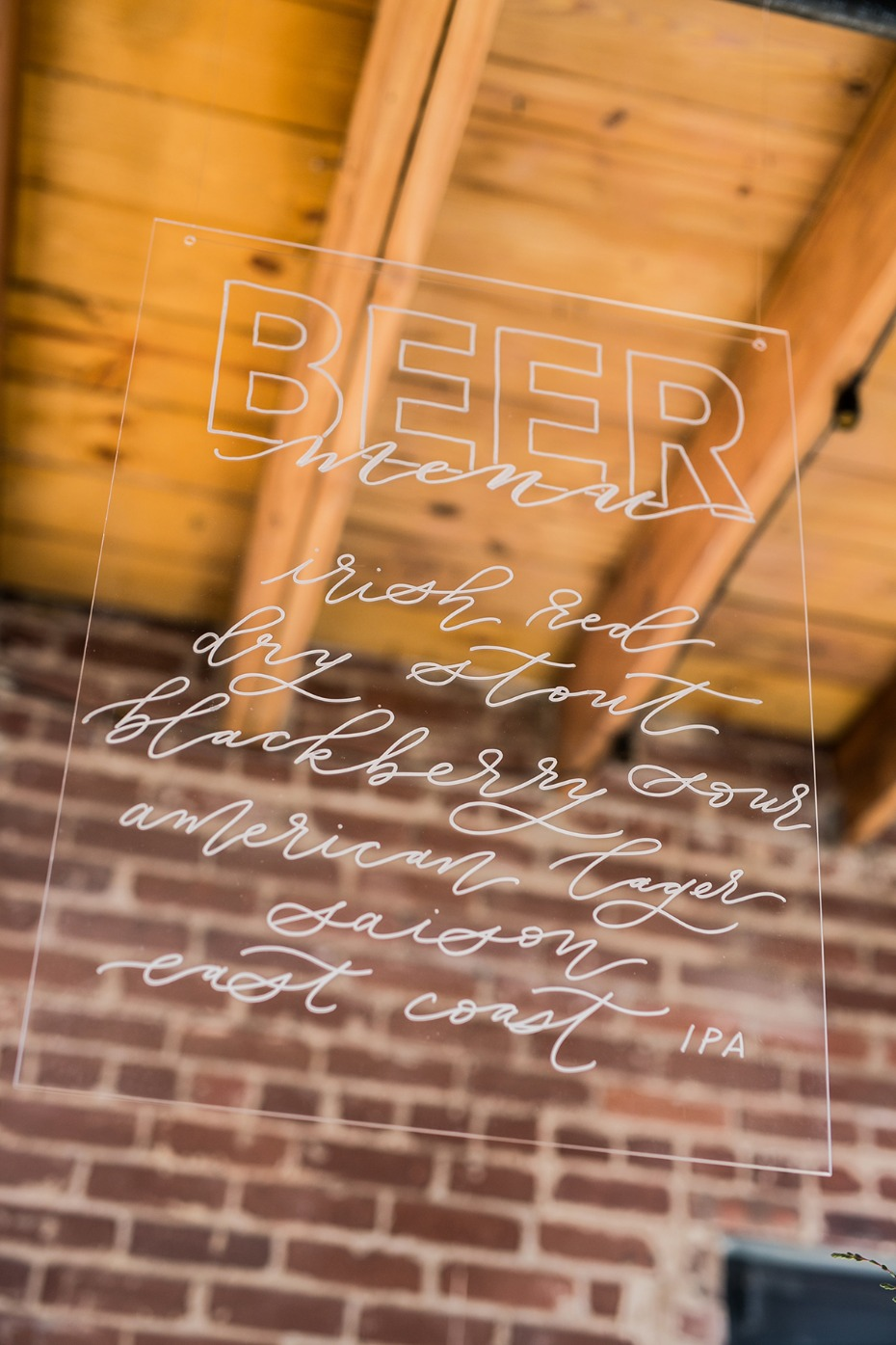 clear acrylic beer menu