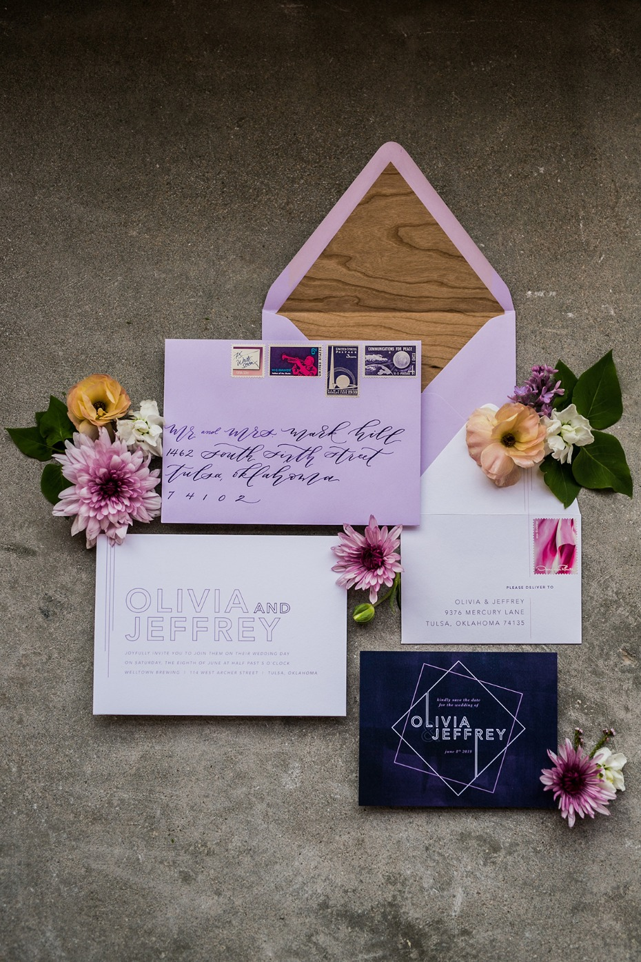 modern ultra violet wedding invitation