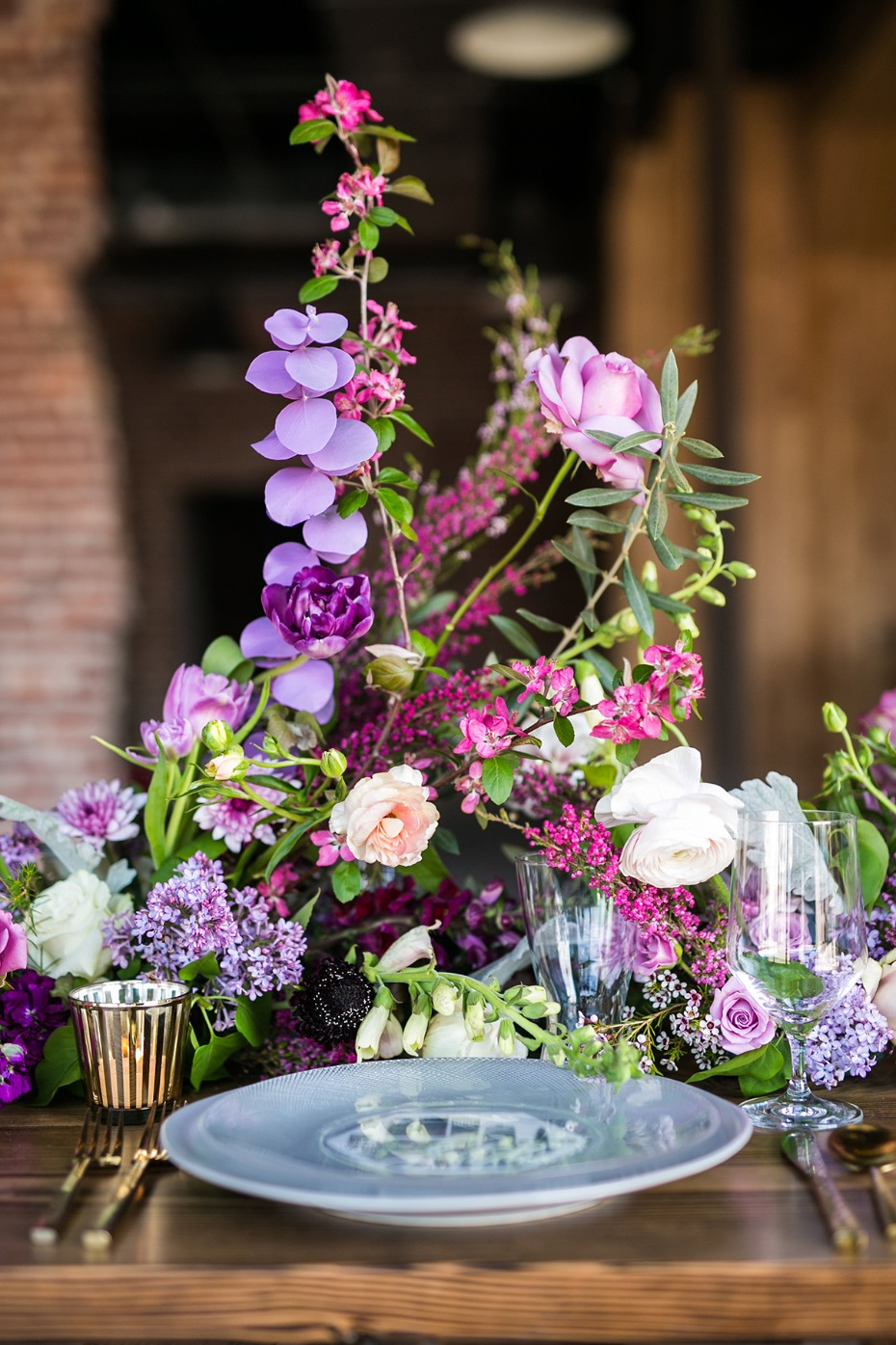 romantic purple and pink floral centerpiece