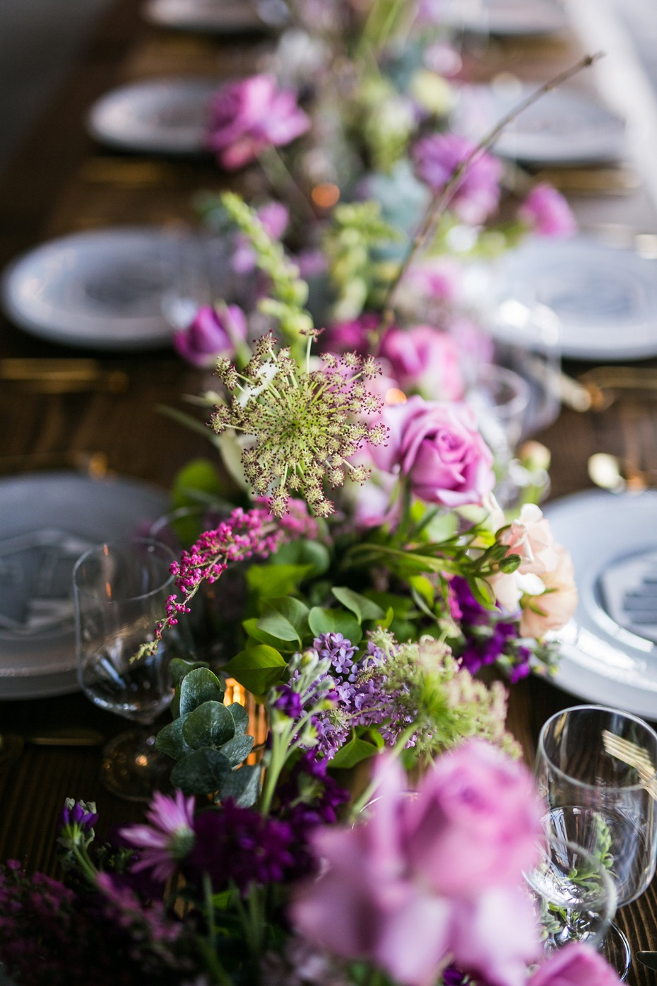 pink and purple wedding floral decor