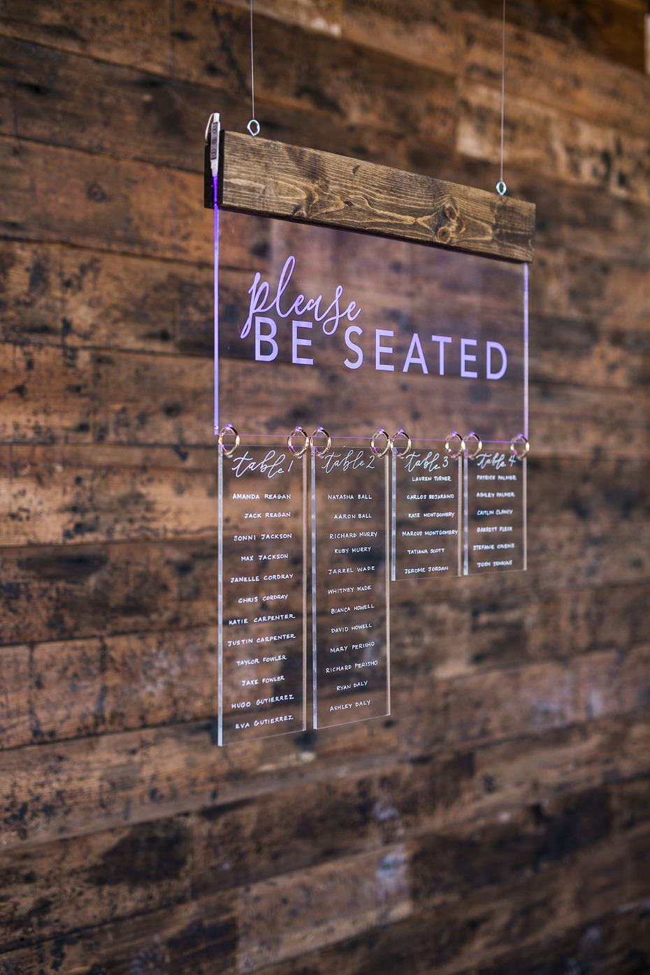glow in the dark seating sign
