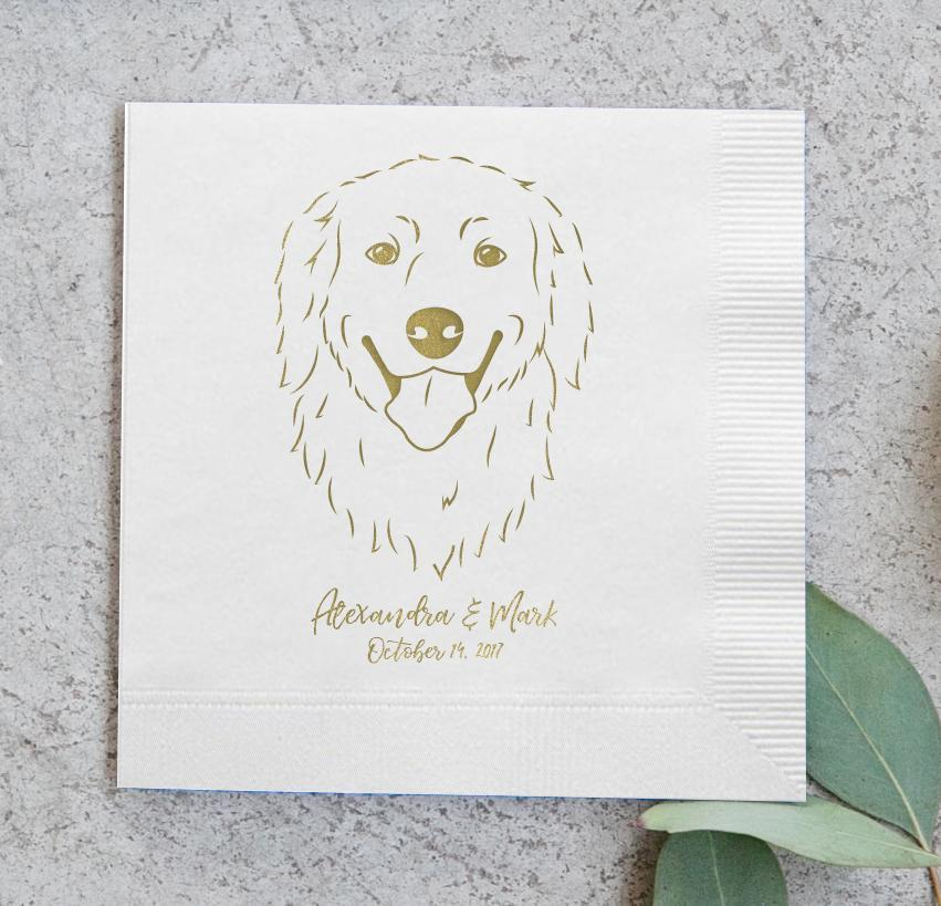 Who doesn't love a good napkin?? These Pet Portrait Napkins with Foil from Miss Design Berry are the PERFECT wedding decor if you'd