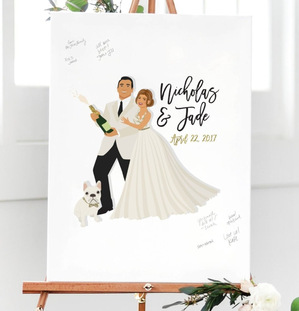 If you're a fan of champagne and super fun guest books, this guest book is the one for you!! This Wedding Guest Book Alternative with