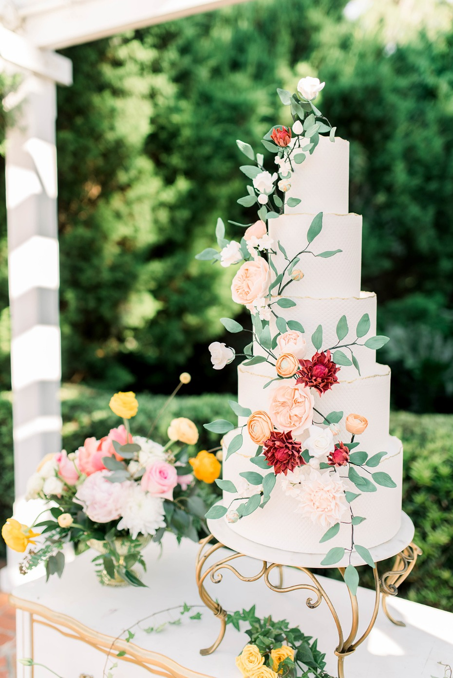 wedding cake with sugar floral decor
