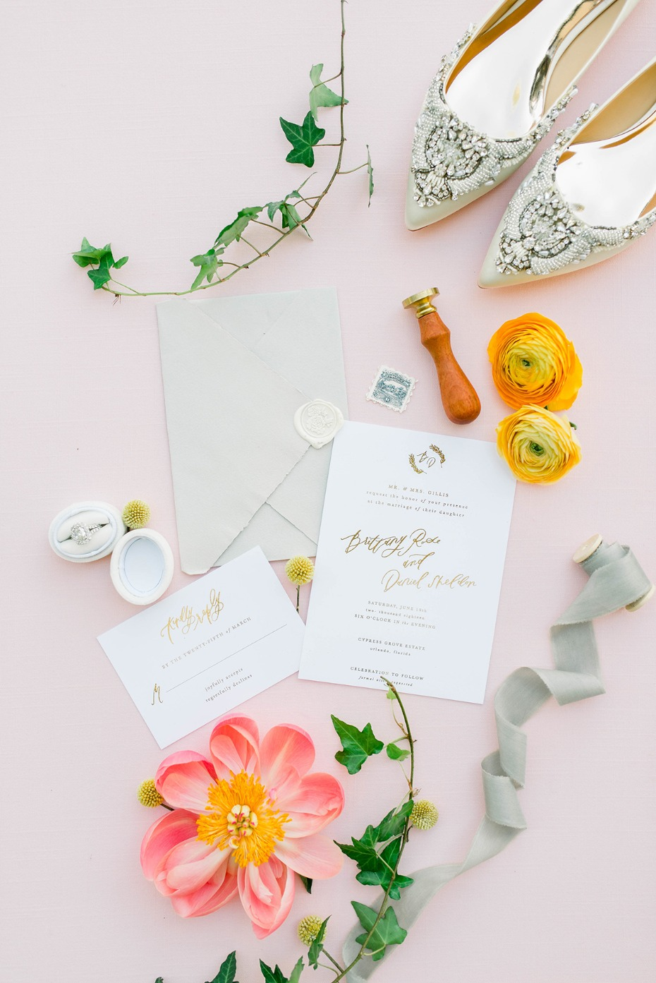 glam gold calligraphy invitation suite