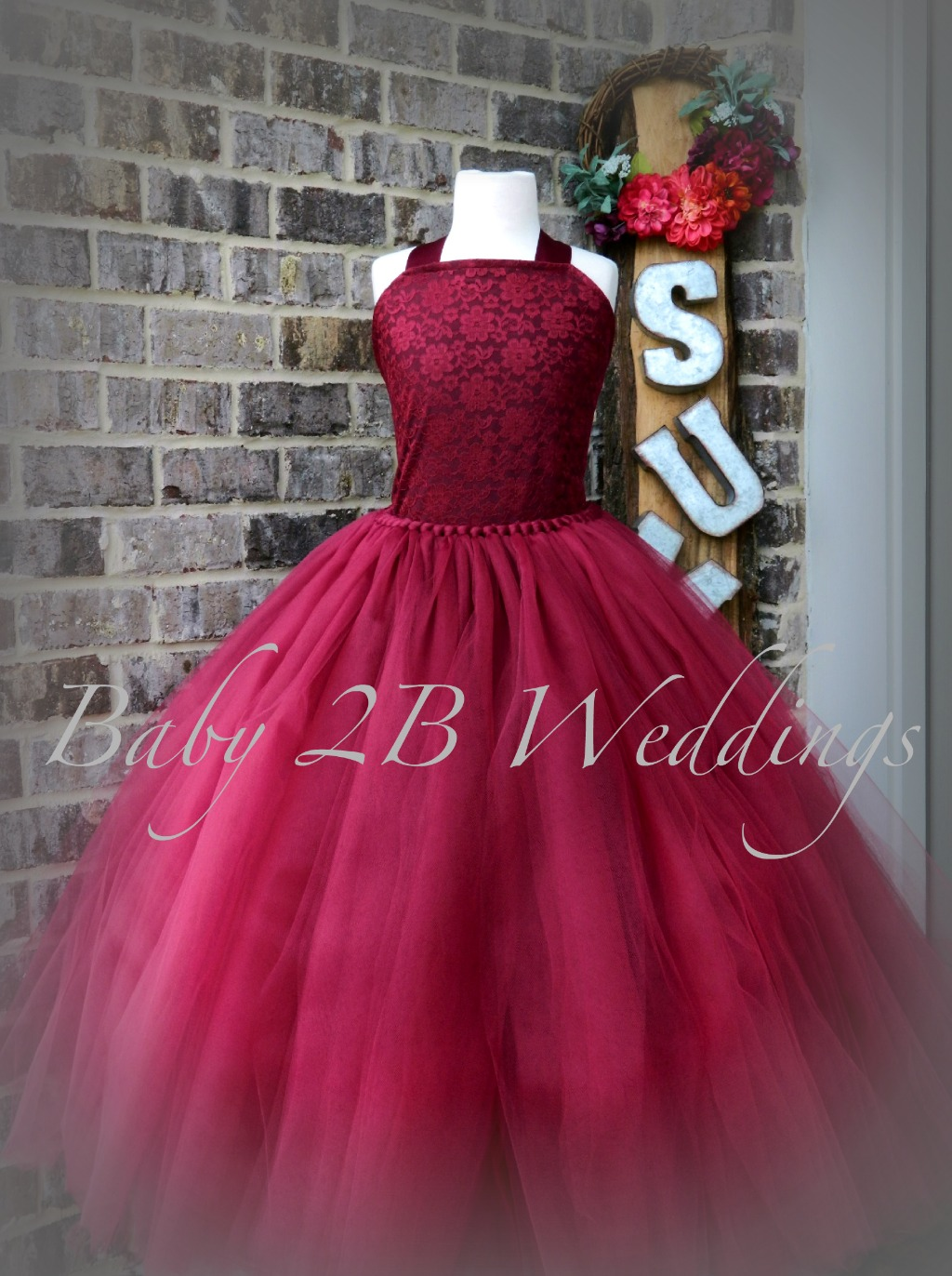 Just in time for fall! Our burgundy wine dress will be perfect for your little flower girl!