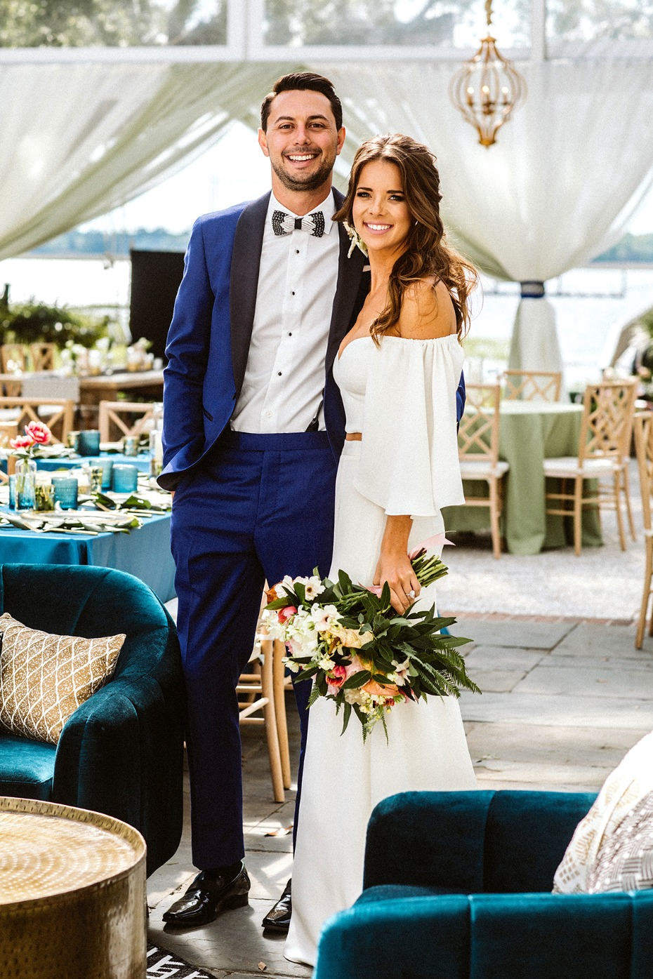 modern boho chic wedding couple