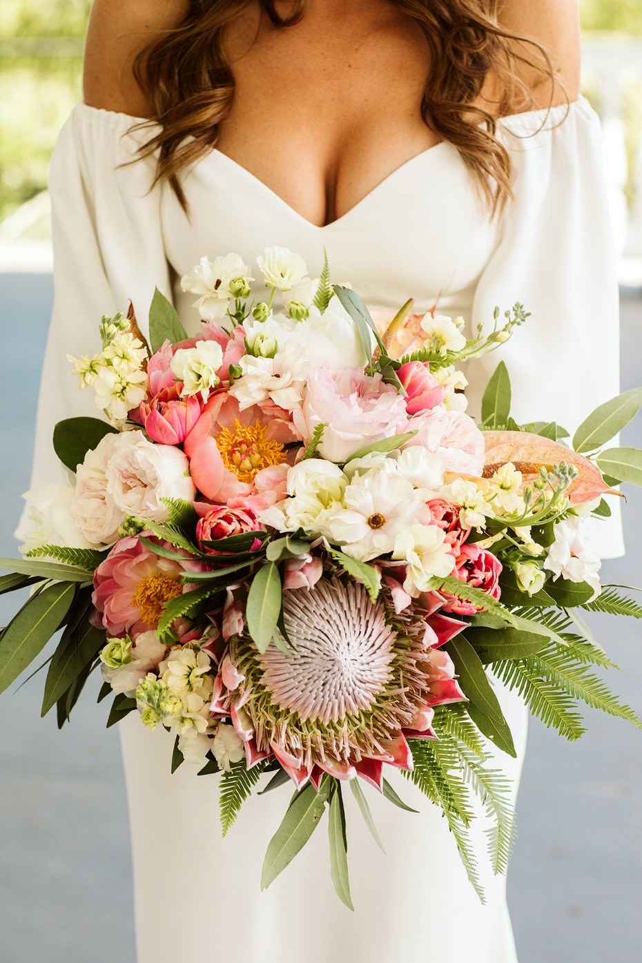 pink and white tropical themed bouquet