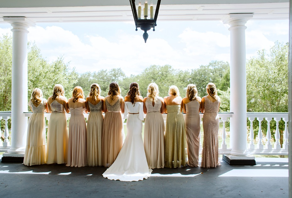 bridal party in mixed and matched dresses