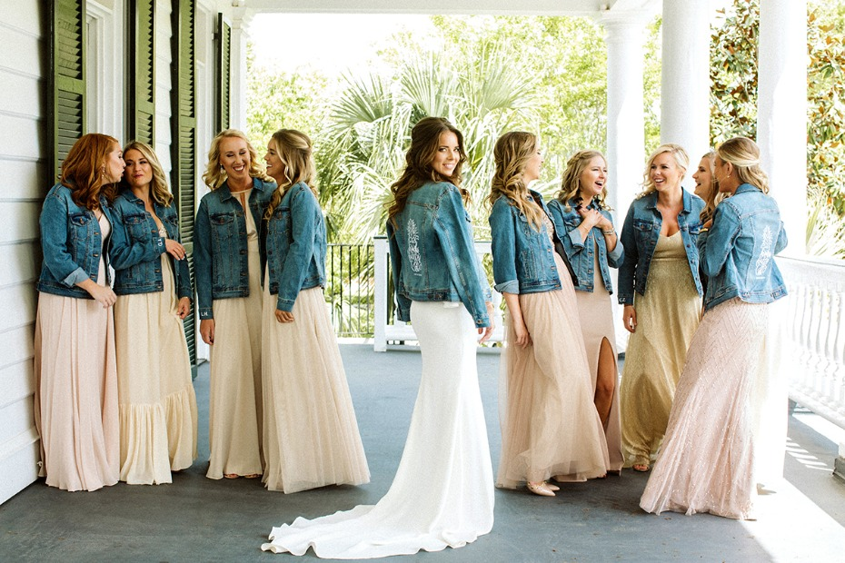 bridal party in custom jean jackets