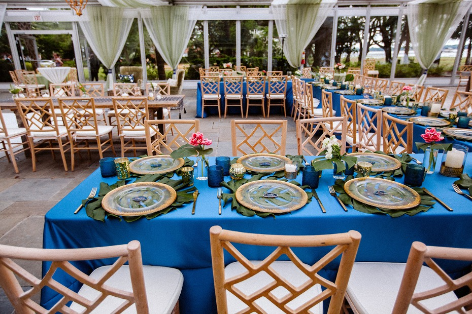 tropical themed boho inspired wedding reception