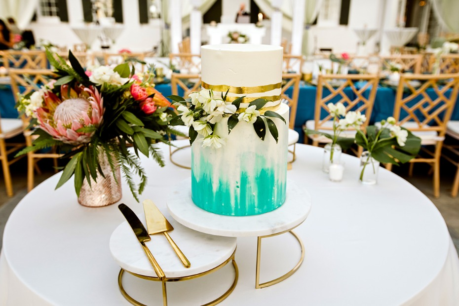 white gold and teal modern wedding cake