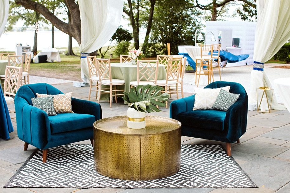 modern boho chic wedding lounge with a tropical twist