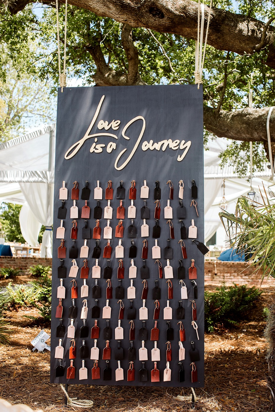 love is a journey luggage tag favor display