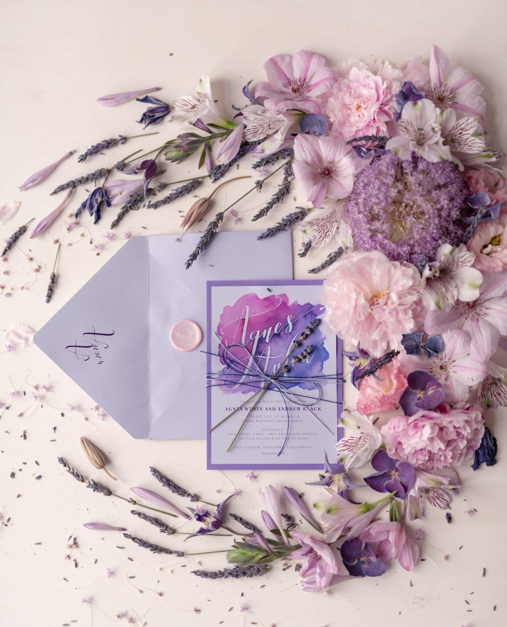 Wedding invitations with #lavender and modern #calligrphy