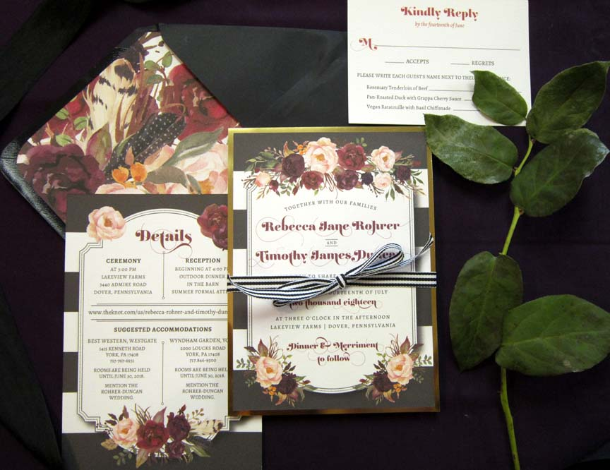 Florals, stripes, and foil... what could more gorgeous in a custom wedding invitation from Persnickety Invitation Studio?