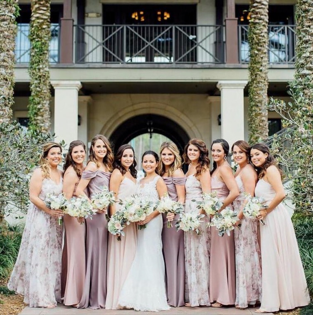 blushing over this lavender #mixnmatch bridal party 💜 featuring inesse #jycinesse, blake #jycblake and sabine #jycsabine #jennyyoobridesmaids