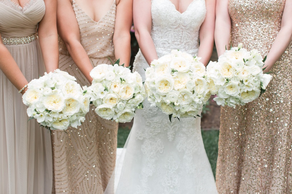 Glamorous bride and bridesmaids