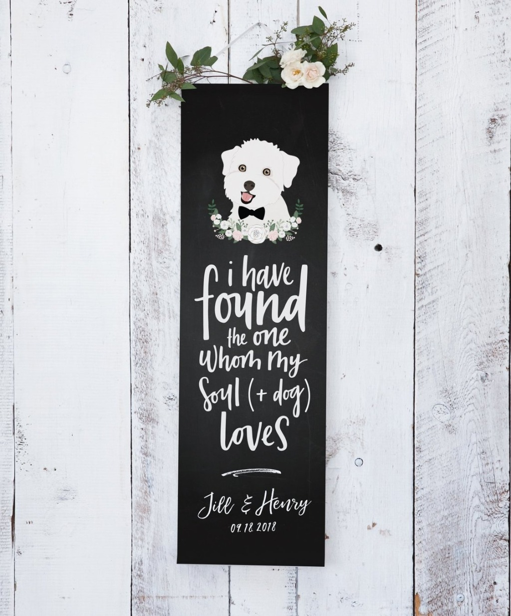 This Chalkboard Wedding Banner with Pet Portrait from Miss Design Berry is the BEST wedding decor you can possibly pick up for your