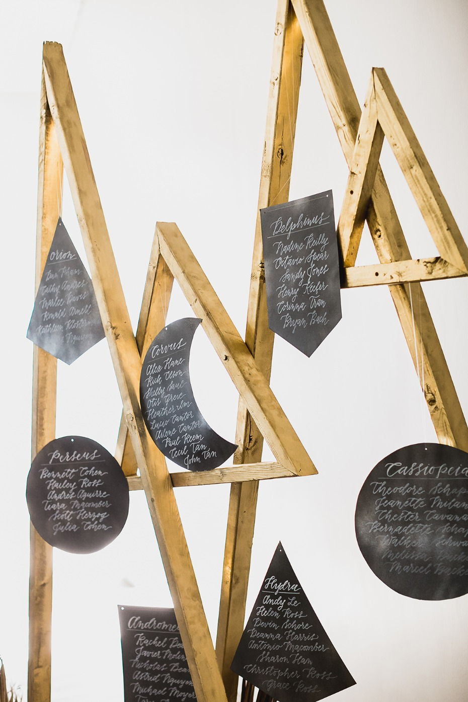 modern hanging seating assignment display