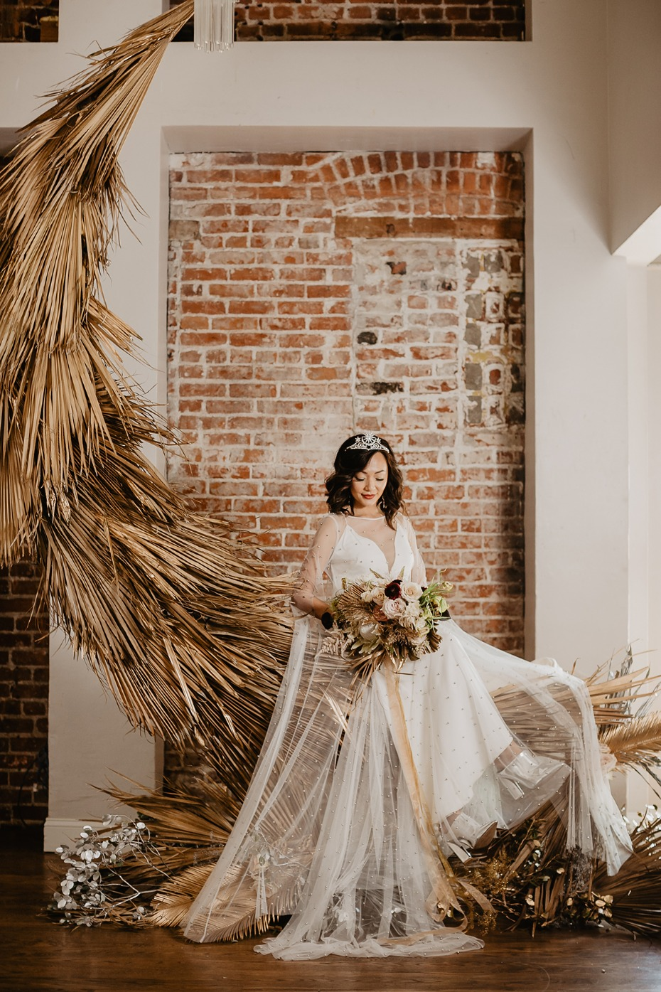 fly me to the moon bridal portrait