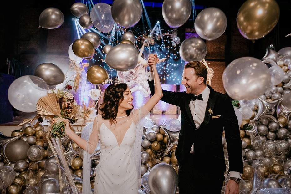 just married gold and silver balloon drop