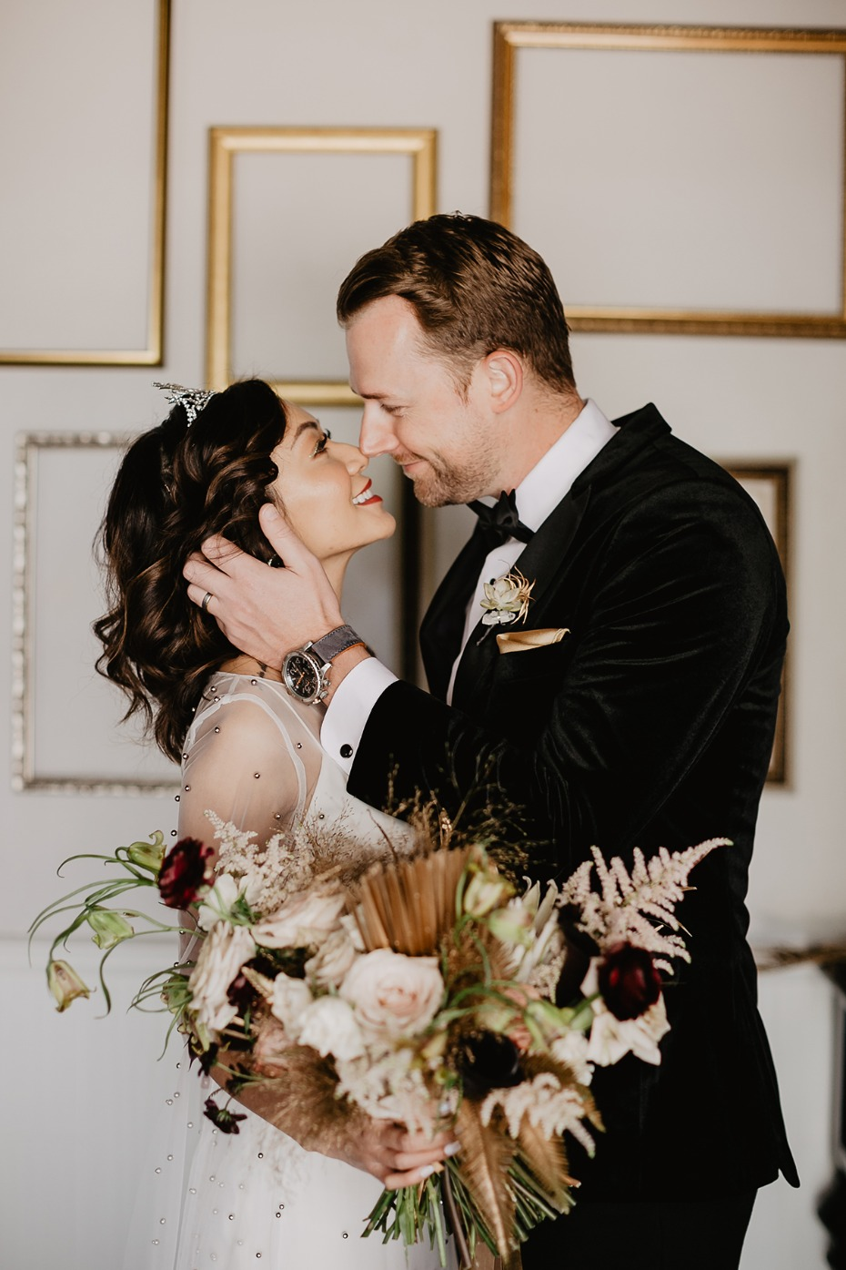 glam vintage chic wedding couple