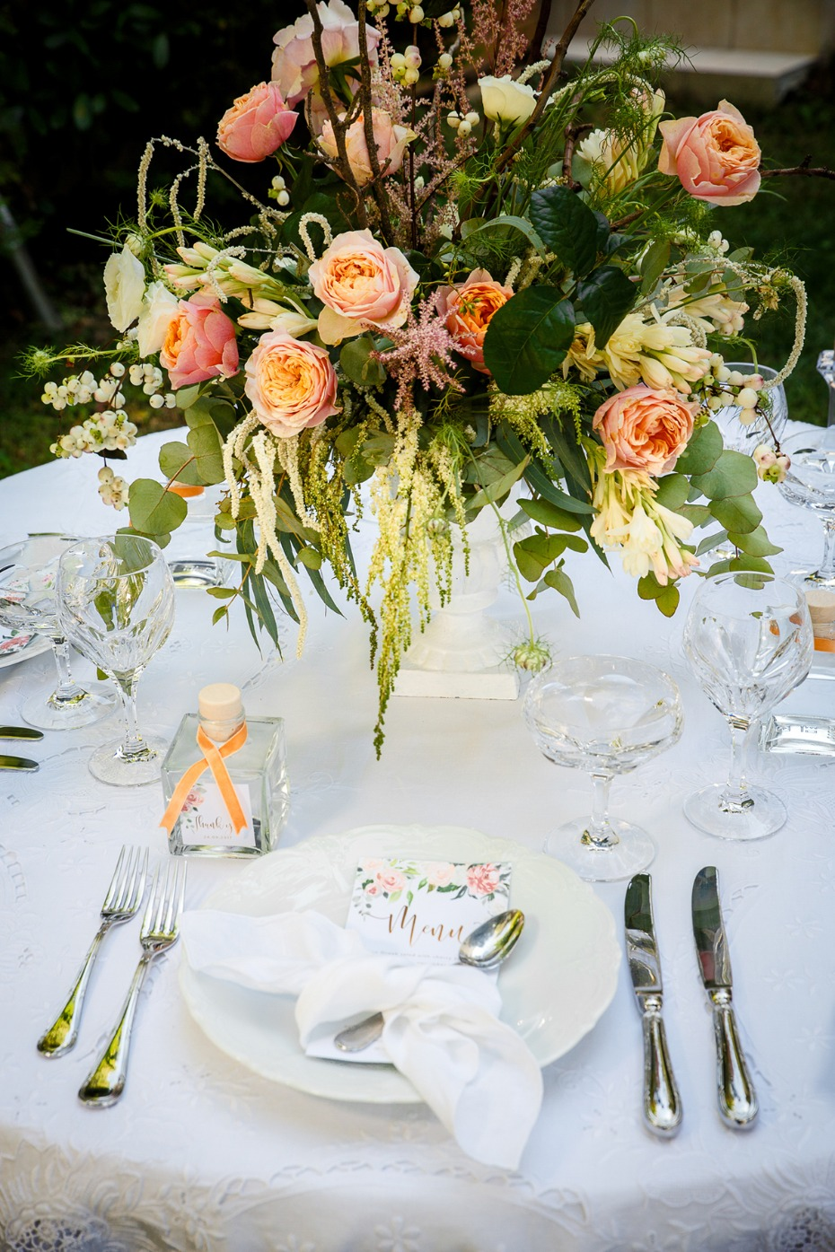 blush and coral wedding table setting