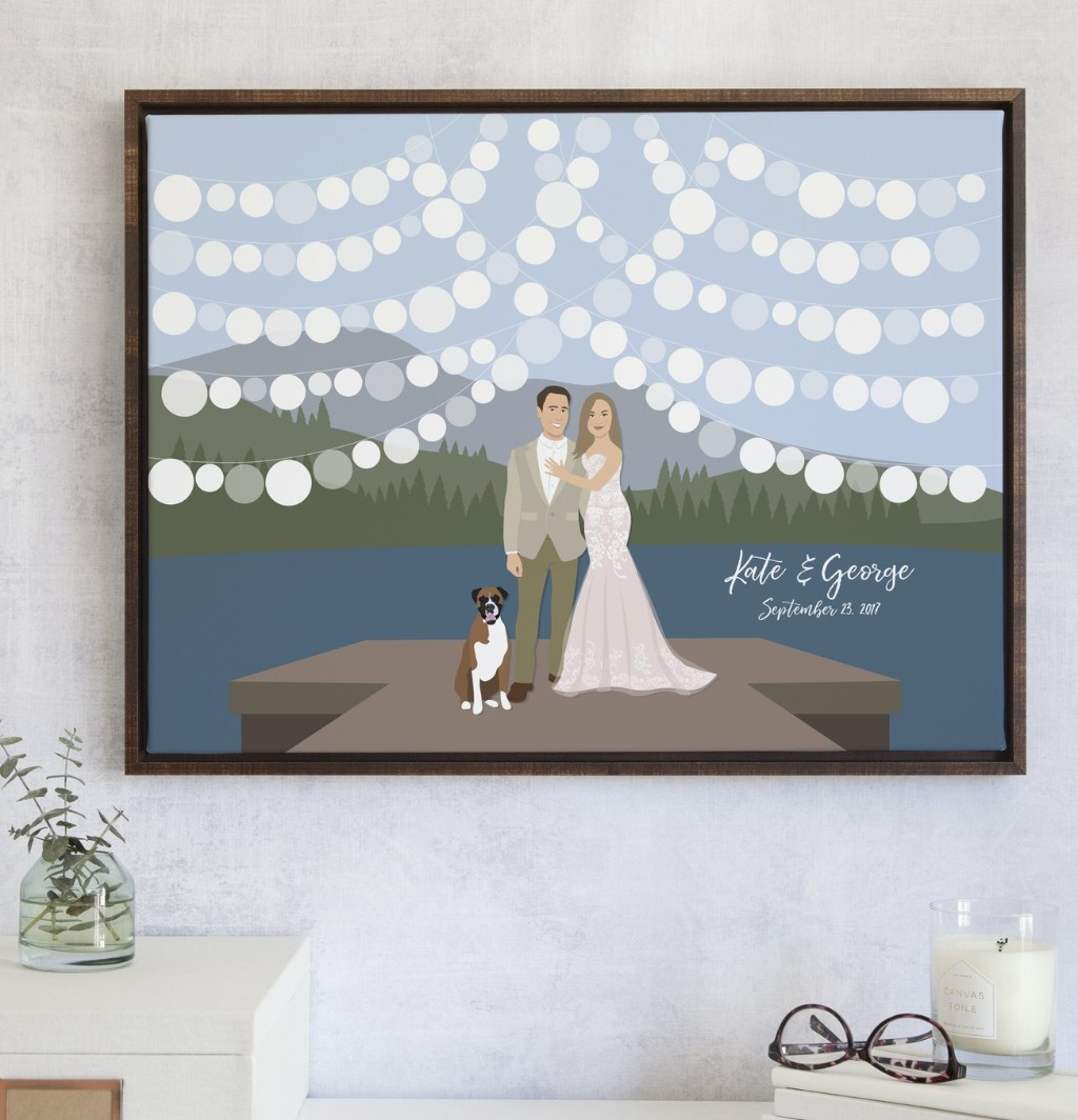 If you love the look of our beach wedding guest book alternative, but mountains and lakes are more your thing, this Lake Wedding Guest