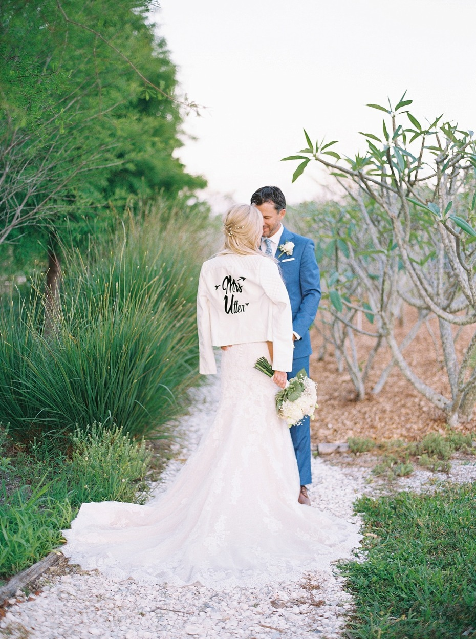 wedding couple with cute wedding jacket