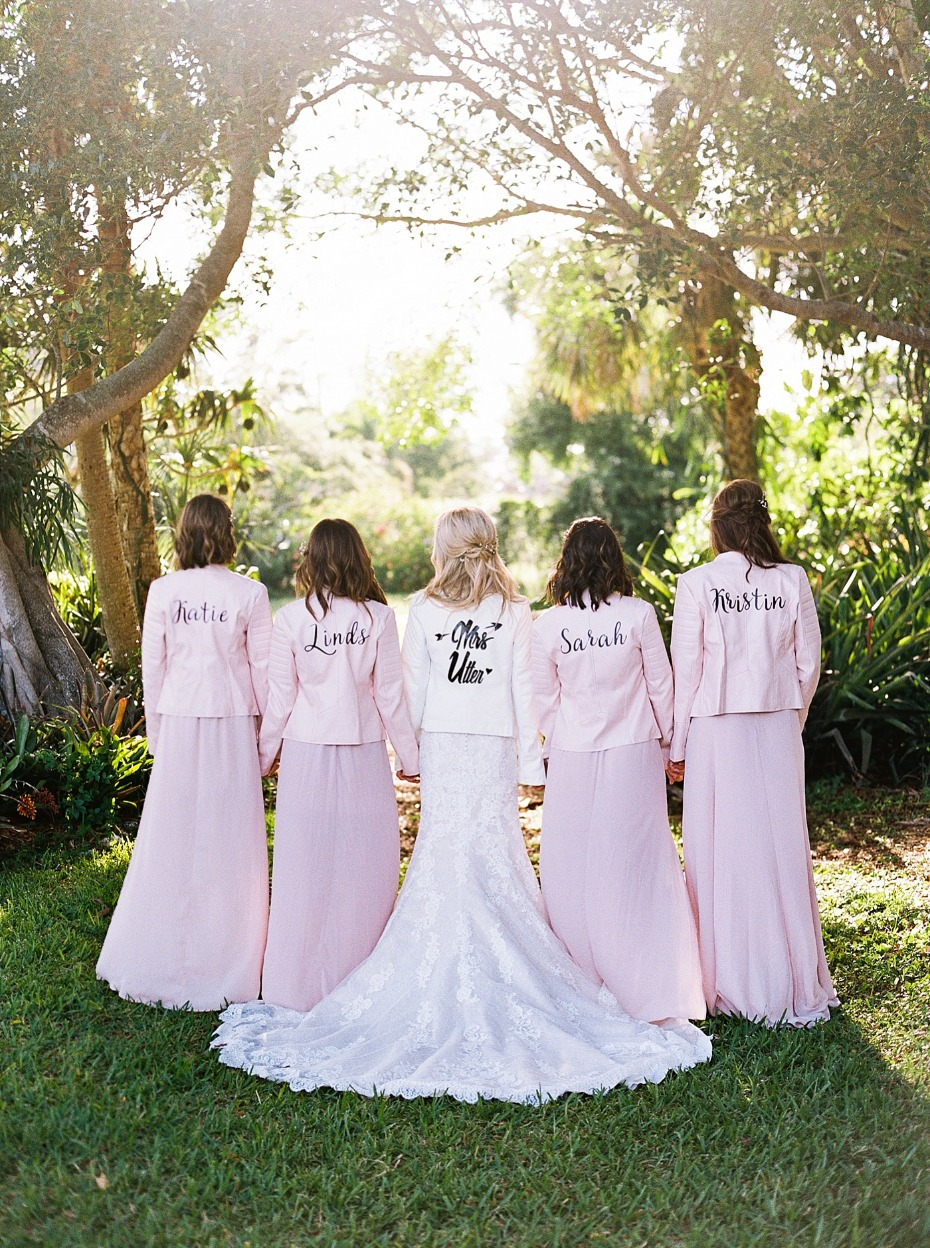 bride and her bridesmaids in leather jackets