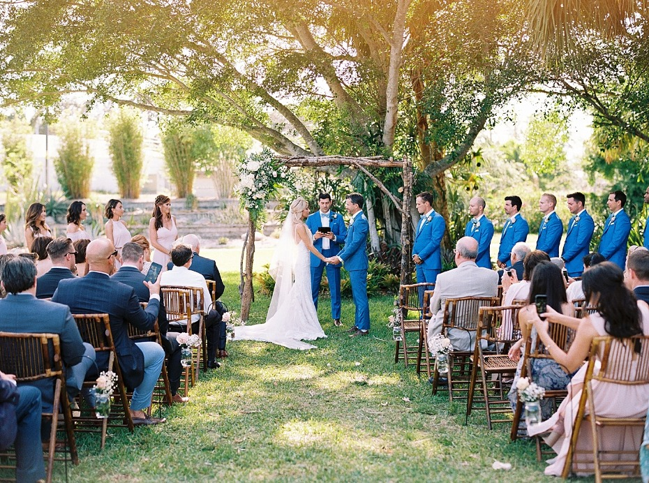 sweet wedding ceremony outside in Florida