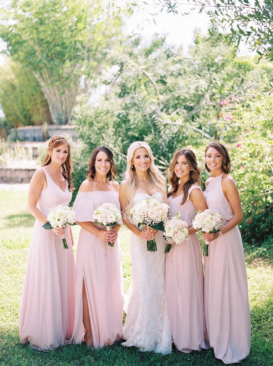 bridesmaids in soft pink