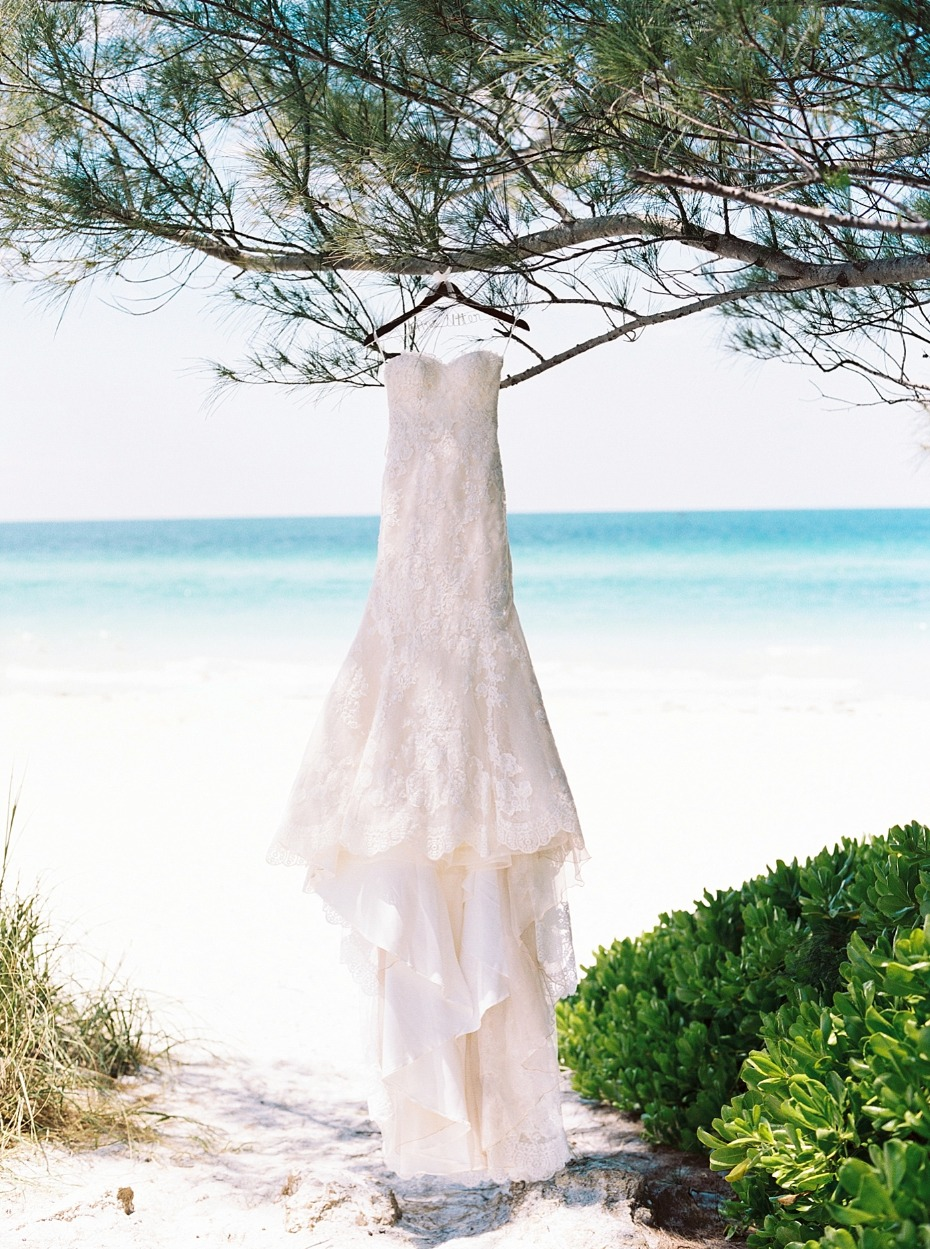 wedding dress at the beach